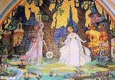 Mosaic Walls Inside Cinderella's Castle in Disney World.