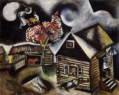 Chagall, Marc Rain (La Pluie), 1911  oil (and charcoal?) on canvas  Guggenheim Collection, Venice