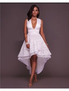 Lauren Off-White Embroidery High-Low Dress - Club Dresses Fashion Sexy Dresses, Evening Dresses, Casual Dresses, Fashion Dresses, Prom Dresses, Summer Dresses, Maid Dress, African Dress, Fit Flare Dress