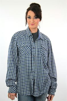 90s Blue flannel shirt preppy checkered unisex oversized Extra Large