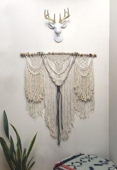 "32"" Extra Large macrame wall hanging curtain modern bohemian decor cool wall…"