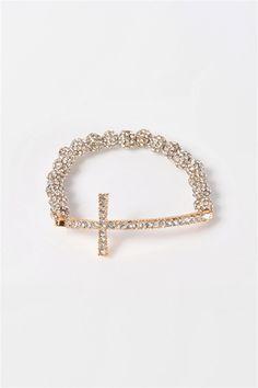 Beaded Cross Bracelet - Gold  #1 pick christmas gift