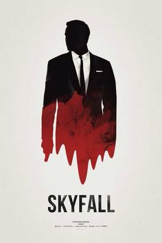 """This James Bond poster is absolutely fantastic because of the sleek and minimalist design. The type is effective in this poster because of the boldness and hierarchy of the black font in the word """"Skyfall. Best Movie Posters, Minimal Movie Posters, Minimal Poster, Cinema Posters, Cool Posters, Disney Posters, Skyfall, Poster Art, Poster Layout"""