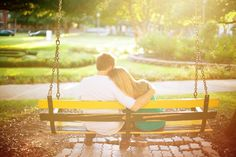 Engagement pictures on the swing where we were engaged (#Baylor campus)