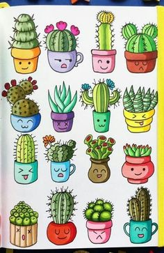 Best 12 watercolor cactus clipart in pots, quirky, hand painted by MoniqueDigitalArt on Etsy - Skil . Best 12 watercolor cactus clipart in pots, quirky, hand painted by MoniqueDigitalArt on Etsy - Skil . Cactus Drawing, Cactus Painting, Watercolor Cactus, Plant Drawing, Cactus Art, Cactus Plants, Cactus Flower, Watercolor Succulents, Succulents Drawing
