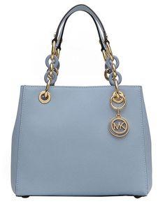 NWT Michael Kors Saffiano Leather Small Cynthia NS Satchel Purse ~Pale Blue #MichaelKors #Satchel