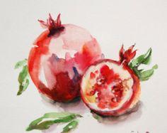 Watercolor Fruit, Fruit Painting, Watercolor Paintings, Painting Art, Watercolours, Pomegranate Art, Pomegranate Tattoo, Art Aquarelle, Fruit Photography
