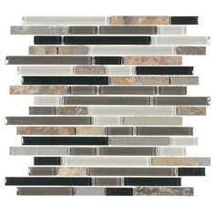 "Piano Stone & Glass Tile in Slate - 11.75"" x 11.75"" - Backsplashes - Kitchen Accessories"