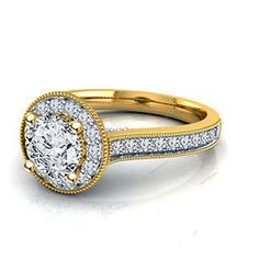 14k Yellow Gold Plated Round D/VVS1 Diamond Engagement Ring 925 Sterling Silver…