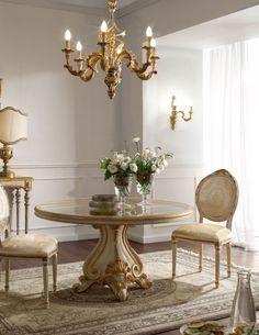 Italian Luxury Dining Room Wood Furniture. Andrea Fanfani Italy, glass top table