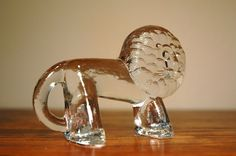 Danish Modern Art Glass Animal Figurine - Kosta Boda Zoo Series Lion. $48.00, via Etsy.