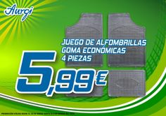 Oferta Rebajas Enero-Febrero 2014 - Juego de alfombras goma económicas (4 piezas). Más información en http://www.aurgi.com/index.php/ofertas/60-ofertas-otros-productos-primavera