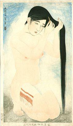 """By Kiyoshi Kobayakawa (1897-1948), 1931, """"Glossy dark hair""""."""