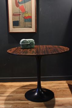 Vintage 1960s Round Tulip Dining Table With A Rosewood Veneer Beveled Edge  Top On Heavy Cast