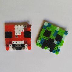 Minecraft Mooshroom and Creeper pendants perler bead
