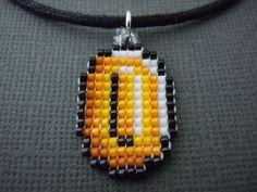 Coin Necklace, Seed Bead, Video Game Jewelry, Handmade, Pixelated, Nintendo, Super Mario, Geek, 8 Bit, Miniature Pixel Art, Bead Weaving