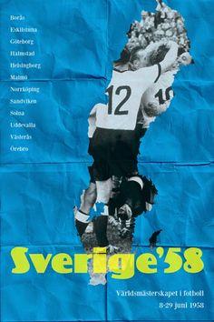 Poster mundial de fútbol. #Suecia 1958 #FIFA #Mundial #Fútbol #Diseño http://creativittaagencia.blogspot.com/2014/07/posters-world-cup-1930-2014.html