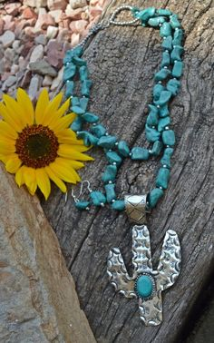 Cowgirl Bling Hammered Silver tone CACTUS southwest Gypsy necklace set #Unbranded
