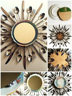 UPcycle some silverware & a plate into Decorative Mirror Trim!;-)