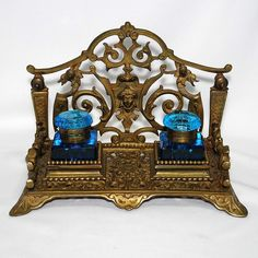 19th century Inkstand with sapphire blue cut glass Inkwells