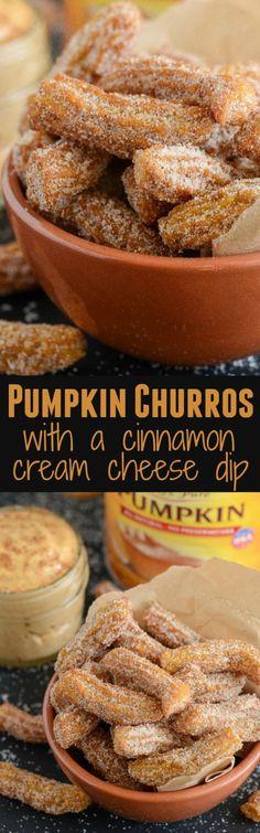 Pumpkin Churros! With a sweet cinnamon cream cheese dipping sauce!
