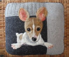 Personalized Needle Felted Pet Pillows made from Recycled Sweater Fabric by  ValsArtStudio