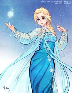 Elsa - Korean traditional dress (Hanbok) by theobsidian.deviantart.com on @DeviantArt