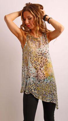 Asymmetrical Multicolor Animal Print Tunic Top