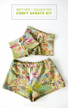 Use this free sewing pattern to make matching Mother Daughter Sweat Shorts. Perfect for lounging around and playing.