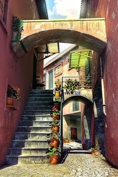 Sorrento, Italy  With narrower proportions, I picture this being how lots of alleys look in Marstaiga. Maybe a slightly more exaggerated arch, too.