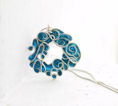 Ocean Wreath Necklace in Deep Teal Blue, Sterling Silver Sea Waves Pendant...