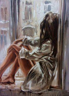 """ YOUR WHITE SHIRT . "" - original oil painting on canvas, gift, palette kniffe by Monika Luniak Oil Painting On Canvas, Painting & Drawing, Canvas Art, Sexy Painting, Modern Oil Painting, Original Paintings, Original Art, Portrait Art, Love Art"