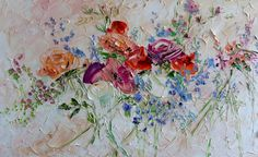 Large Art Big Painting Large Poster Flowers Oil Painting Peonies Roses Lilac Ginger Red Blue Turquoise Cipria Art Cottage Home Wall Print Ha Cherry Blossom Wallpaper, Peony Rose, Knife Art, Oil Painting Flowers, Knife Painting, Home Wall Decor, Large Art, Flower Art, Art Flowers