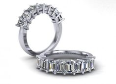 18ct White Gold Band set with 8 Emerald Cut diamonds