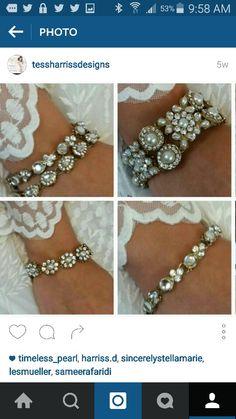 Pretty crystal and pearl bracelets from Tessharrissdesigns.com