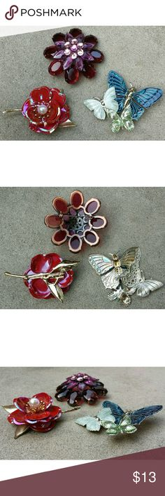 """Vintage Mix Lot 3 Pin Brooch: Flower Butterfly Great condition. Mixed lot of beautiful 2D pins brooches.   1 ) irridescent red flower : vintage 50s/60s (part of gold steam broke off but it's behind the flower and not noticeable - doesn't affect wear/function), 3"""" across - flower itself 2""""  2 ) blue, light green, icy blue butterflies : nonvintage, 3 3/8""""  3) purple/ wine faceted jeweled flower : vintage 90s, 2 7/8""""  Tags : Urban Outfitters, Lucky Brand, Betsey Johnson   Bundle 2 + items to…"""