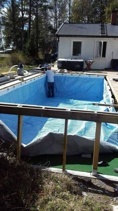 Hanging a rectangular Intex Ultra Frame Pool directly from the pool deck Trouble Free Pool Oberirdischer Pool, Diy Pool, Swimming Pools Backyard, Pool Landscaping, Lap Pools, Indoor Pools, Piscina Diy, Piscina Intex, Build Your Own Pool
