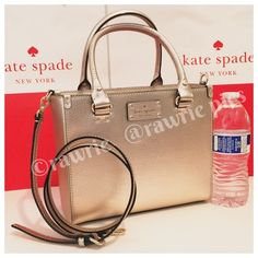 """New Kate Spade rose gold leather square tote 100% authentic Kate Spade small Quinn Crossbody Satchel. Rose gold boarskin embossed cowhide with 14-karat light gold plated hardware. Inside zip and slip pockets. Handles drop 5"""". Longer detachable and adjustable strap. Measures 9.75"""" (L) x 8"""" (H) x 4.5"""" (W). Brand new with tags. Comes from a pet and smoke free home. Kate Spade shopping bag included. kate spade Bags Crossbody Bags"""