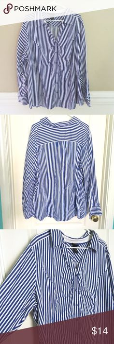 Lane Bryant Striped Button Down Spandex Blouse 26 Lane Bryant Button down blouse.  Size 26.  Super soft. 2 small spots shown in photos. I haven't tried to remove them, so they may come out. Virtually unnoticeable with the stripe pattern-- but I like to fully disclose!   All items are negotiable! Everything must go so I can shop more! LOL! I accept tons of offers!  Please make an offer through the offer button or bundle to get a discount! No trades, please! 0715101 / 1023101 Lane Bryant Tops…