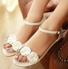 ENMAYER Hot! Fashion Women Sandals Sexy leather flowers Summer Shoes Low Wedges Peep Toe Less Platform Chic Sandals New 2014 $48.96