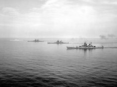 All four of the Iowa Class Battleships at sea.