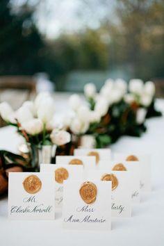 romantic vintage wax seal escort card ideas