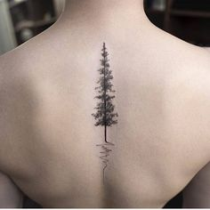 Pine tree tattoo on the upper back.                                                                                                                                                                                 More