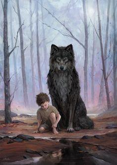 Leesha Hannigan Concept Art World Anime Wolf, Fantasy Wolf, Fantasy Art, Dark Fantasy, Fantasy Creatures, Mythical Creatures, Wolf Artwork, Werewolf Art, Concept Art World