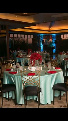 Tiffany blue/red centerpieces