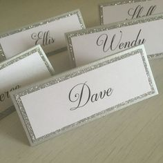 Glitter place cards / Basic place cards / by AMomentofMagic & Silver Glitter Blank Tented Place Cards Escort cards Name Cards ...
