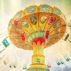 Carnival art, carnival photography,  autumn color teal sky mustard yellow tango orange circus art nursery art - 16x16. $75.00, via Etsy.
