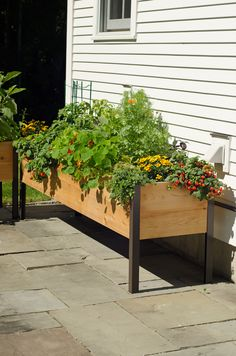 PERFECT - This is EXACTLY what I want to either build myself or purchase for our backyard - Elevated Cedar Planter Box, 2' x 8'