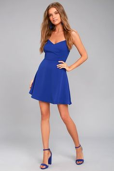 Lulus Exclusive! Make the Yours Forever Royal Blue Backless Skater Dress a permanent addition to your wardrobe! Sleek woven poly falls from adjustable straps, into a princess-seamed bodice with a tying, open back. Flirty skater skirt. Hidden back zipper/clasp.