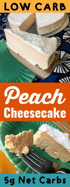 This Low Carb Keto Peach Cheesecake is a decadent dessert with only 5g net carbs per slice. It is Atkins, THM-S, LCHF, Grain Free, Gluten Free and Sugar Free compliant. #resolutioneats #lowcarb #keto #cheesecake #peaches